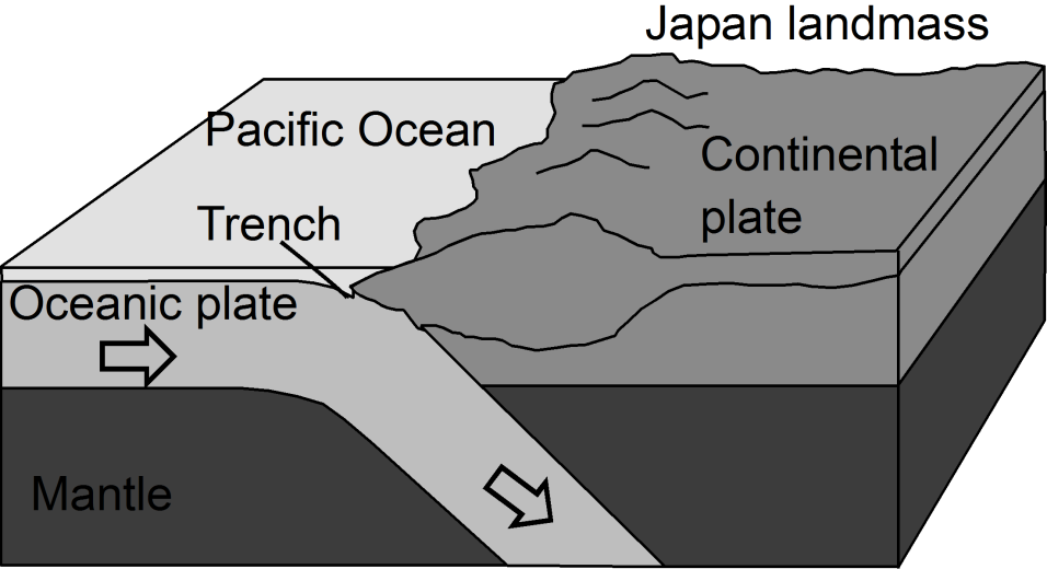 Fig. 2: The basic subduction system operating in the vicinity of Japan Unfortunately, the contact surfaces termed a fault - between the plates are not smooth, meaning that the plates tend to stick