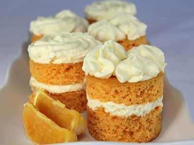 Mini Creamsicle Cakes 2 packages Sunburst Orange Cake Mix 3 cups warm water 1 package Whipped Topping Mix 3 cups chilled orange juice 30 pieces of acetate Recipe Yields: 15 Servings 1.