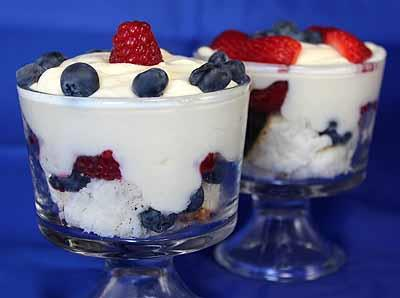 Mini Berry Trifles 1 package Angel Food Cake Mix 1-1/4 cups water 4-1/2 tablespoons (1/4 package) Vanilla Pudding Mix 1 quart 2% low-fat milk 1 teaspoon (1/4 package) Whipped Topping Mix 6.