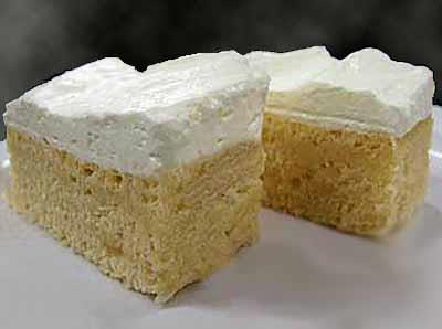 Zesty Lemon Mousse Bars 1 package Lemon Cake Mix 1 package Lemon Cookie Mix 1 package Lemon Mousse Mix 3 cups water 2 cups cold low-fat milk Recipe Yields: 36 bars 1.