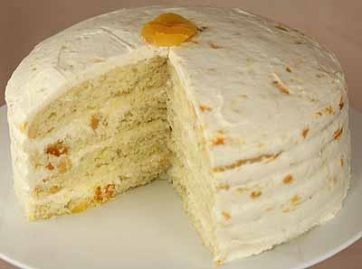 Apricot Cake 1 package Vanilla Cake Mix 1-1 / 2 cups warm water 1 / 4 cup dried apricots, chopped 3.
