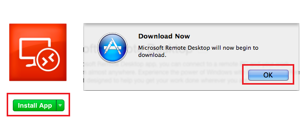 4. Click the Install App button on the left-side and the download will begin. Click Ok. 5. Remote Desktop for Mac has now been installed. 6.