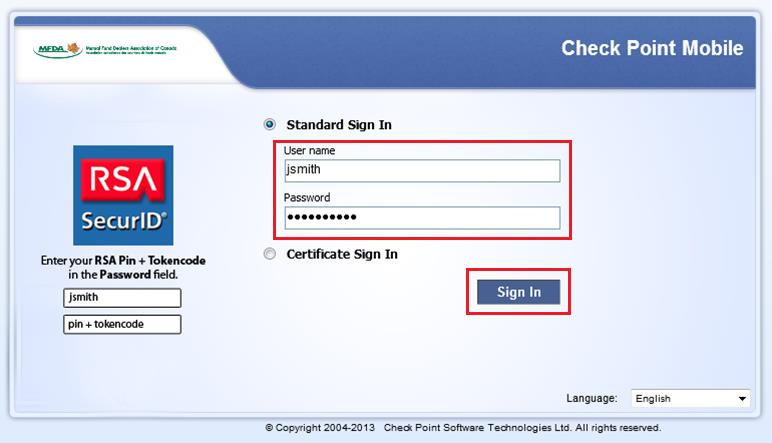 Select Trust Server. 2. Upon scan completion, you will be prompted with the RSA login for VPN Portal.