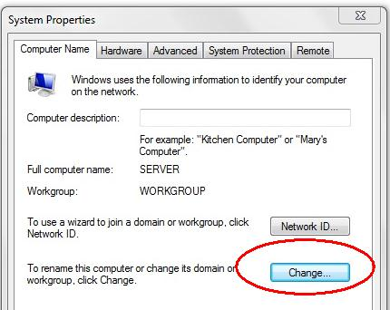 4. Click on the Change button. The Computer Name/Domain Changes window will 5. Rename the computers accordingly (i.e. name the main computer SCServer and the client computers client1, client2, client3 etc.
