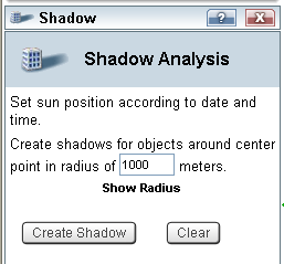 Shadow Analysis Tool The Shadow Analysis tool calculates the shadow cast from buildings and 3D objects in a given radius based on the sun s position.