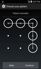 Use a Screen Unlock Pattern 1. From the Screen lock settings menu, tap Pattern. 2. Draw the screen unlock pattern by connecting at least four dots in a vertical, horizontal, or diagonal direction.