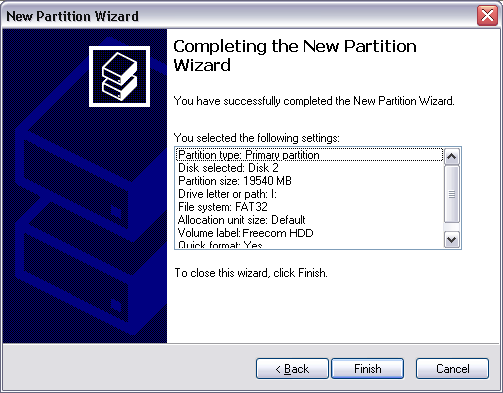 "16 EN 9. Select the formatting option ""Format this partition with the following settings"". Choose either ""FAT32"" or ""NTFS"", the ""Allocation unit size"" should remain on ""Default""."