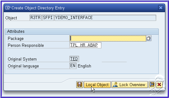 Create Interface Provide the description and select the interface type as ABAP Dictionary-Based Interface.