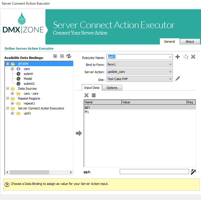 Executing the Server Connect Action workflow You can easily execute the defined Server Connect Action through Ajax by using the Server Action Executor command in Dreamweaver.