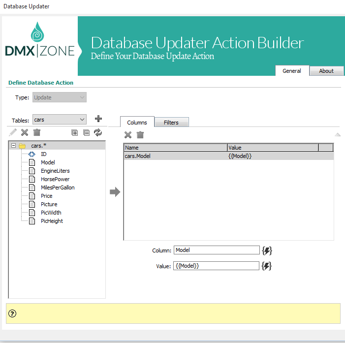 Database updater action builder - The Database Updater Action Builder lets you visually define any database update action.