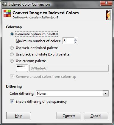 Color Mode While the number of colors has been drastically reduced already, we are now going to fix the number at 5 or 6. To do this we are going to use a color mode called indexed color.