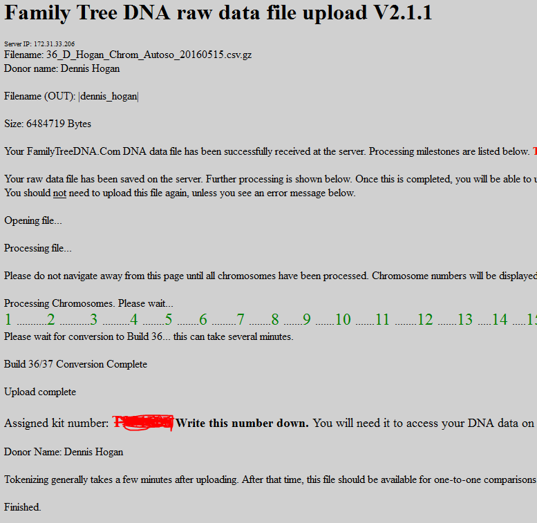 The Family Tree DNA raw data file upload page displays.