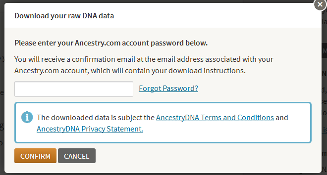 I How to export your raw data from AncestryDNA Go to http://dna.ancestry.com/ and sign in as usual. Your Ancestry home page is displayed. On the right side of the page, click Settings.