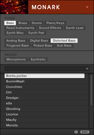 KOMPLETE KONTROL Software Browser Searching and Loading Files from the Library This allows you to quickly find various presets (even for different instruments) with similar characteristics here, a