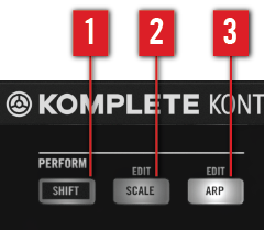 KOMPLETE KONTROL S-SERIES Perform Functions PERFORM Section Overview 8.1 PERFORM Section Overview The buttons of the PERFORM section let you access and switch the scale and arp parameters on or off.