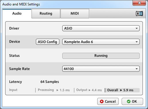 Basic Concepts Audio and MIDI Settings The Audio page of the Audio and MIDI Settings panel. Setting Driver Device Status Description Select your audio driver here.