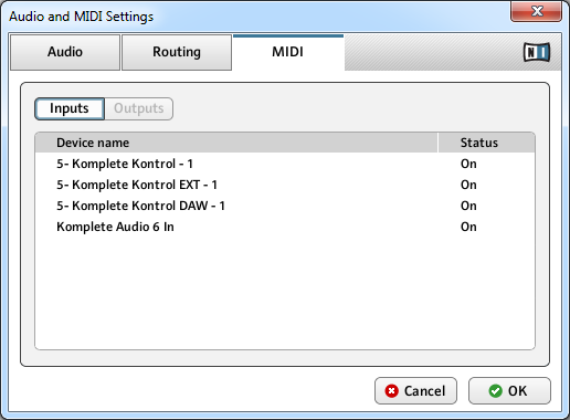 Basic Concepts Connecting External MIDI Equipment to KOMPLETE KONTROL S-SERIES The MIDI page of the Audio and MIDI Settings panel (entries may vary on your computer).