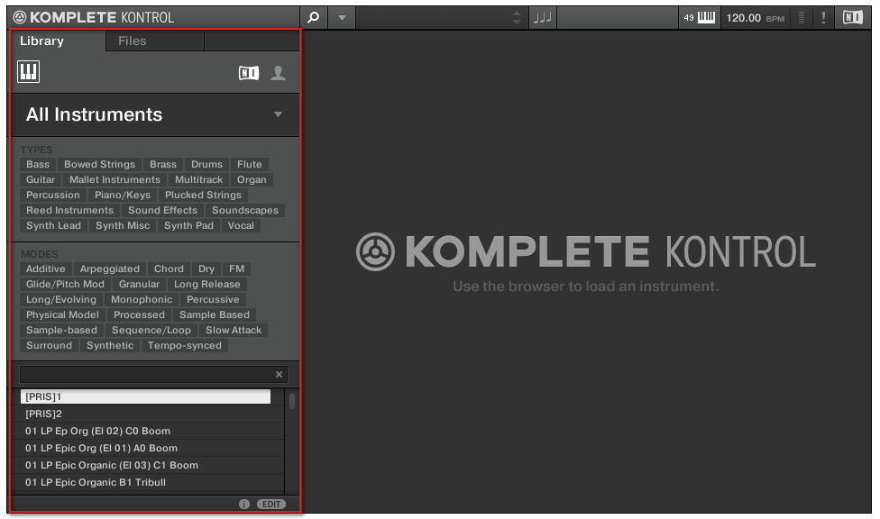 KOMPLETE KONTROL Software Browser Browser Basics 5 KOMPLETE KONTROL Software Browser The browser is the place where you can organize and categorize all of your instruments and plug-in presets.