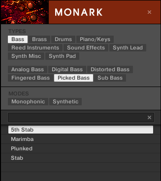 KOMPLETE KONTROL Software Browser Searching and Loading Files from the Library In this second level, you select the subtype you want for your bass line.
