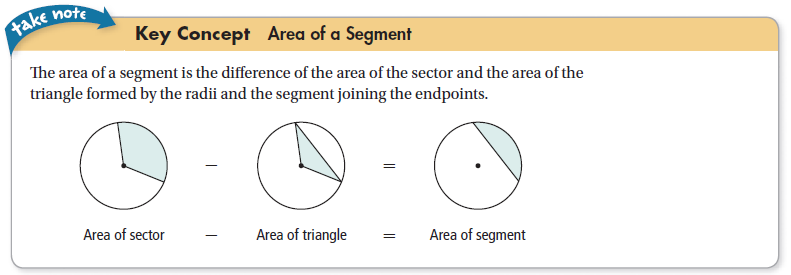 Segment of a Circle: part of a circle bounded by an arc and the segment joining its