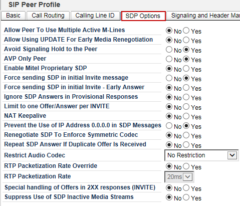 Calling Line ID Figure 20: SIP Peer Profile Assignment Call Routing All the parameters are configured as shown Figure 21: SIP Peer