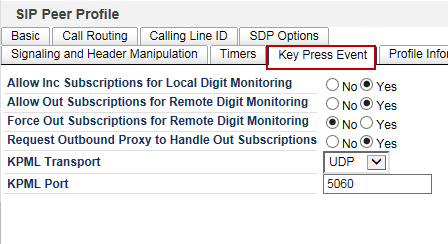 Timers All the parameters are configured as shown Figure 24: SIP Peer Profile Assignment - Timers Key Press Event 1. Set Yes for: a. Allow Inc Subscriptions for Local Digit Monitoring b.