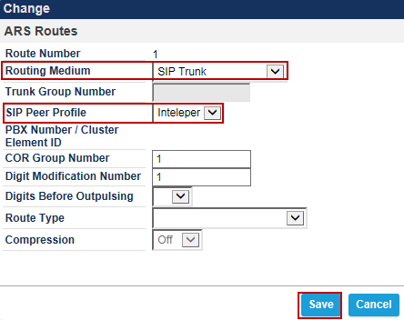 ARS Routes Navigation: Call Routing > Automatic Route Selection > ARS Routes 1. Create a route for SIP Trunks connecting a trunk to IntelePeer.