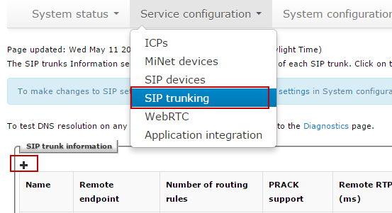 Then identify the working MiVoice Business ICP where to forward SIP messages to and then to configure the SIP trunk.