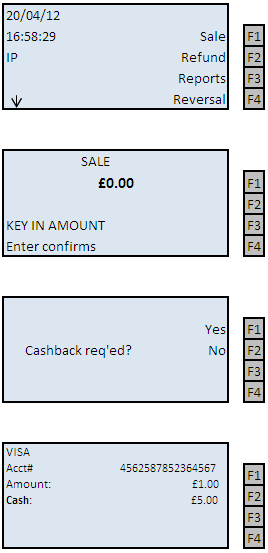 Sale with Cashback *Note: This is not a standard feature on a terminal. To have this feature enabled please call the helpdesk. ** Cash Back is only available on Debit Cards. 1.
