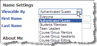 Indicates just that; and also means that non-angel users who may have accessed the information using the People Search option on the Log On page can see this information Authenticated Guest.