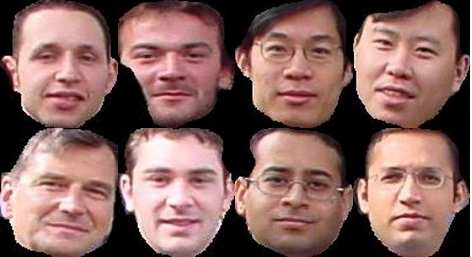 would have been used. 98 of 142 faces were acquired from the first 6 training images, choosing only full faces and those that were facing forward. (The 7 th training image was to be used as a test.