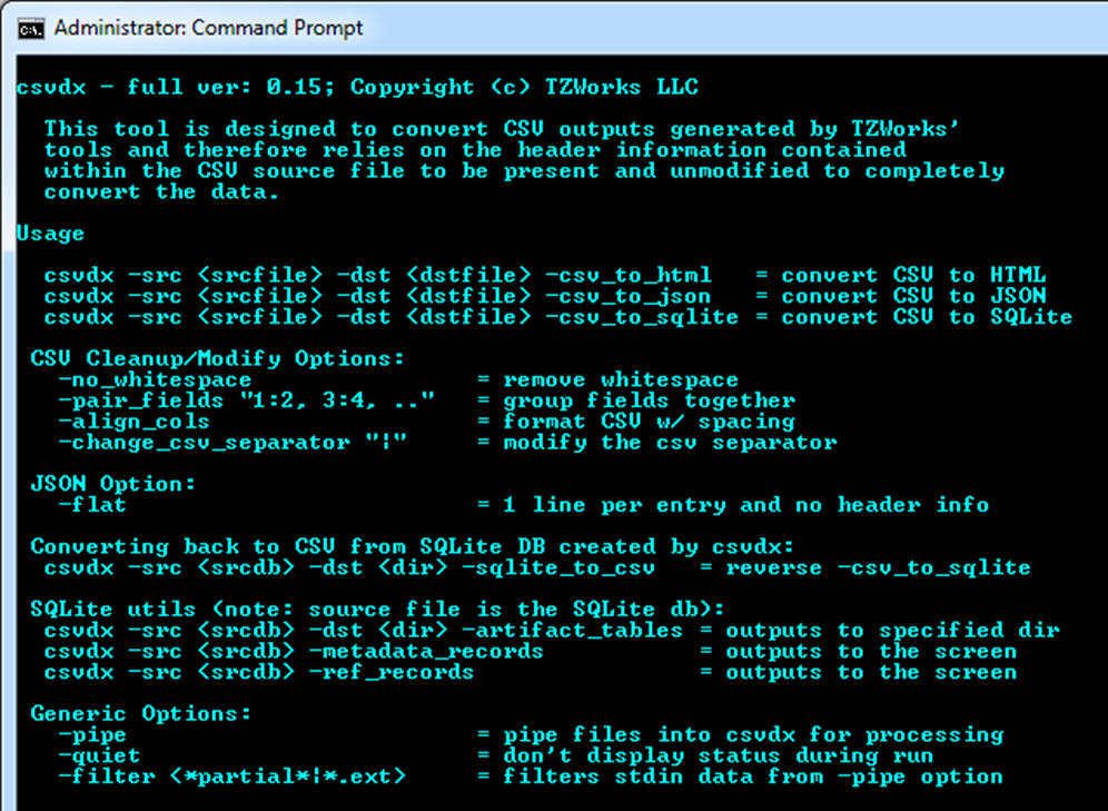 2 How to Use csvdx Below is a screen shot of the command line menu. This shows all the options in summary form. For all options, a source file must be specified to operate on, via the -src switch.