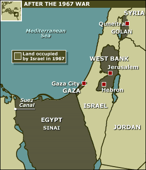 Six Day War- June 1967 Again in May 1967 Egypt shut the Suez Canal to Israeli trade and massed troops near the Israeli border in the Sinai.
