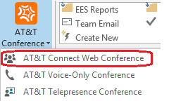 Scheduling an AT&T Connect web conference Opening an AT&T Connect web meeting request in Outlook Choose one of the following ways to open a new Outlook window with an invitation to an AT&T Connect