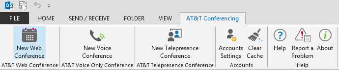Scheduling an AT&T Connect web conference or Outlook 2007: In the top menu bar, select AT&T Connect Web Conference from the AT&T Conferencing menu.