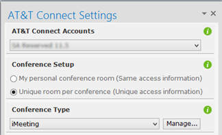 Setting Meeting Options Defining the conference type The Add-in for Outlook allows you to schedule three conference types: imeeting (default) A conference in which multiple participants take a