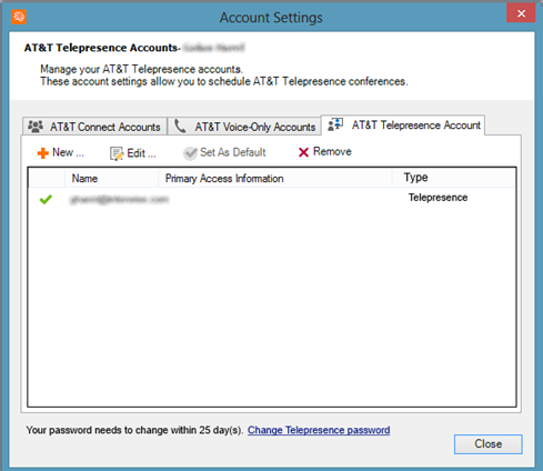 Creating and managing AT&T Telepresence accounts 3. The number of days remaining until you must change your password appears at the bottom of the window.
