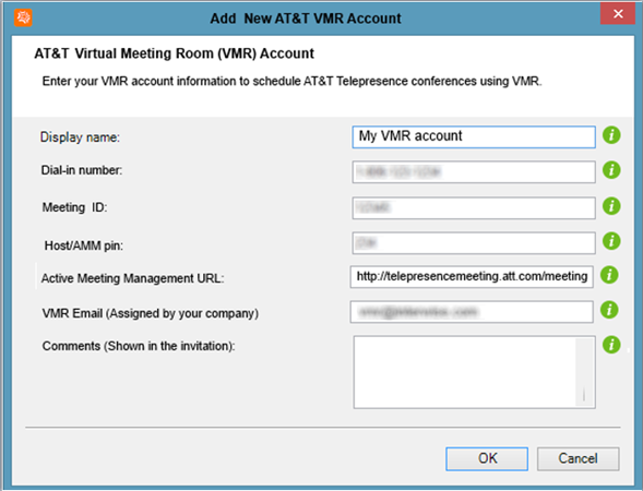 Creating and managing AT&T Telepresence accounts 4. Enter your account information as follows: Note: All fields are mandatory except for the Comments field.