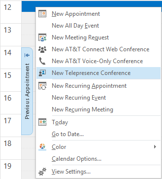 Scheduling an Intra-company AT&T Telepresence Solution conference To open a meeting from the AT&T Conference menu: or 1.