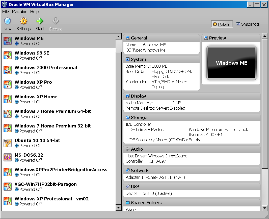 "Each virtual machine that you create will be shown in the left pane of the ""Oracle VM VirtualBox Manager"" window."