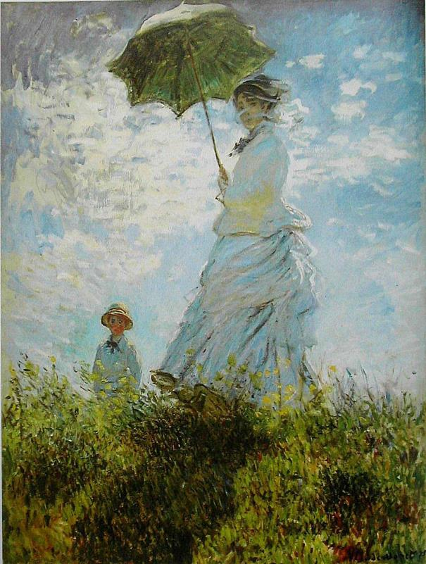 Cool Colors The Walk, Lady with a Parasol by Claude Monet In this painting by