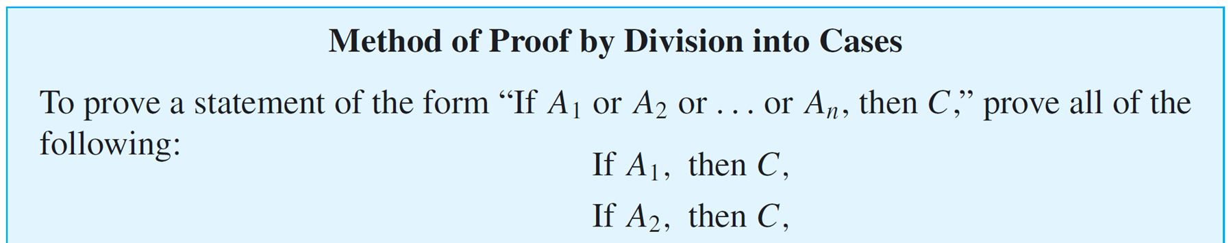 Representations of Integers First assume A 1 is true and deduce C; next