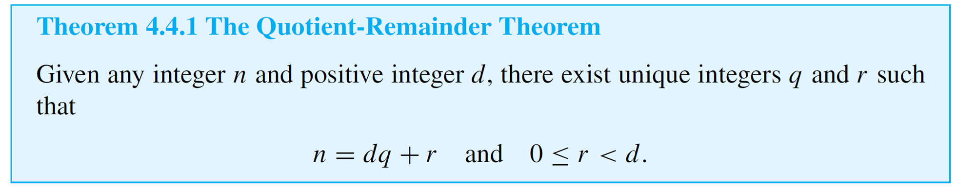 Direct Proof and Counterexample IV: Division into Cases and the Quotient-Remainder Theorem The quotient-remainder theorem says that