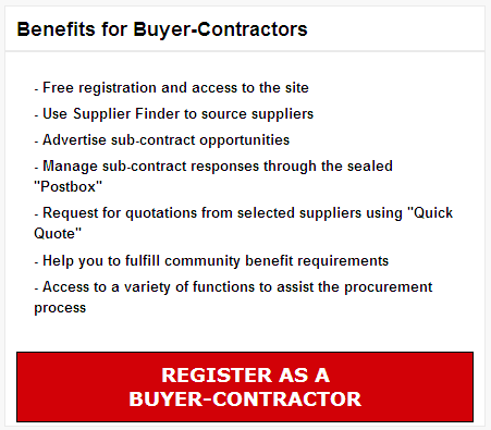 How do I register as a Buyer Contractor to create and publish subcontract notices?
