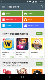 Play Store Google Play allows you to download music, movies, and games directly to your device. To access the Google Play Store, click on the applications menu and then the Play Store icon.