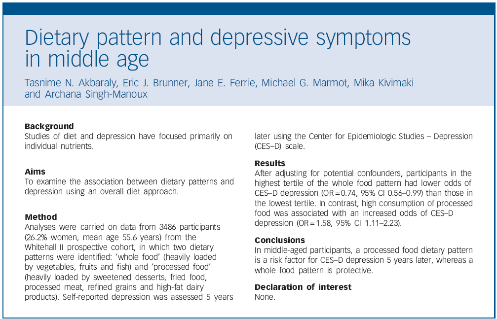 In middle-aged participants, a processed food dietary pattern is a risk factor for CES-D depression 5 years later, whereas a whole food pattern is protective.