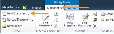 Click the Documents tab on the ribbon and click New Document. This will open up a new document in Microsoft Word. 2. Work on your document and save it.