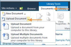 Click the Documents tab on the ribbon > Upload Document or Upload Multiple Documents. 2.