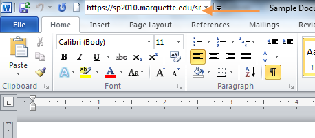 Add the Document Location command to the Quick Access toolbar in Word, Excel, and PowerPoint 1. Right-click the Quick Access toolbar.
