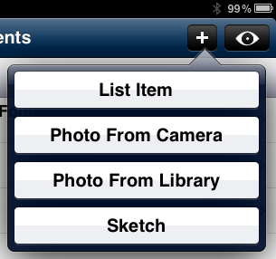 Creating New List Items To create a new list item: 1. Select the list you want to add a new item to and tap the button. 2. Select List Item from the menu: 3.